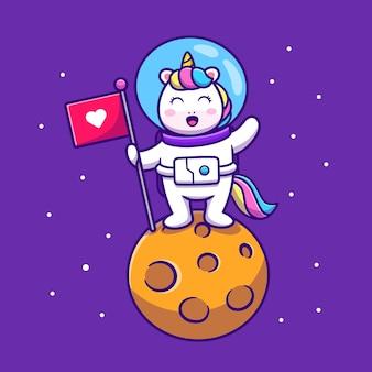 Ładny jednorożec astronauta trzymając flagę na planecie ikona ilustracja kreskówka
