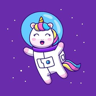 Ładny jednorożec astronauta unoszący się w przestrzeni ikona ilustracja kreskówka