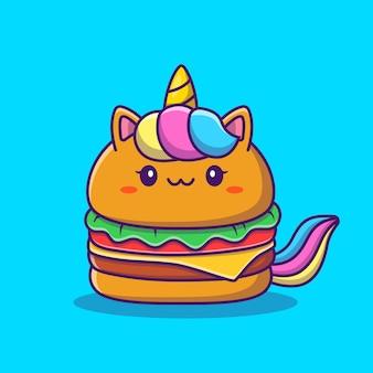 Ładny jednorożec burger kreskówka ikona ilustracja. koncepcja ikona żywności zwierząt na białym tle premium. płaski styl kreskówki