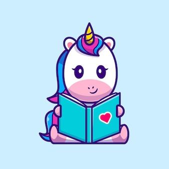 Ładny jednorożec czytanie książki ikona ilustracja kreskówka.