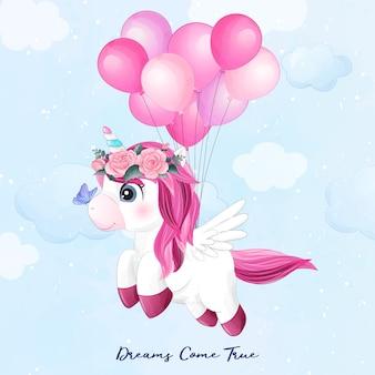 Ładny jednorożec doodle latający z ilustracja balon
