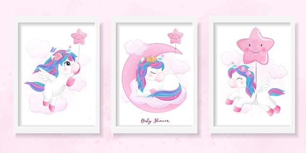 Ładny jednorożec doodle zestaw na baby shower z akwarela ilustracja