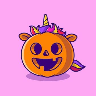 Ładny jednorożec dynia ilustracja kreskówka halloween. płaski styl kreskówki