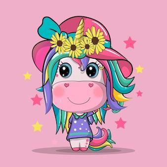 Ładny jednorożec dziewczyna kreskówka ręcznie rysowane ilustracja. może być stosowany do nadruku na koszulce, projektowania mody dla dzieci, zaproszenia na baby shower.