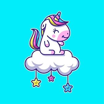 Ładny jednorożec ikona ilustracja kreskówka na chmurze i gwiazd