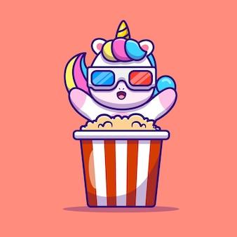Ładny jednorożec jedzenie popcorn ilustracja kreskówka wektor. wektor na białym tle koncepcja karmy dla zwierząt. płaski styl kreskówki
