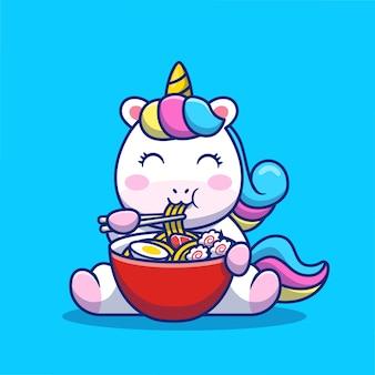 Ładny jednorożec jeść ramen makaron ikona ilustracja kreskówka. koncepcja ikona żywności zwierząt na białym tle premium. płaski styl kreskówki