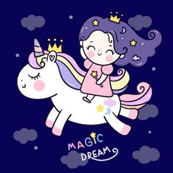 Ładny jednorożec kreskówka księżniczka jazda konik w niebo