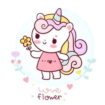 Ładny jednorożec kreskówka stoją wokół kwiat płaski