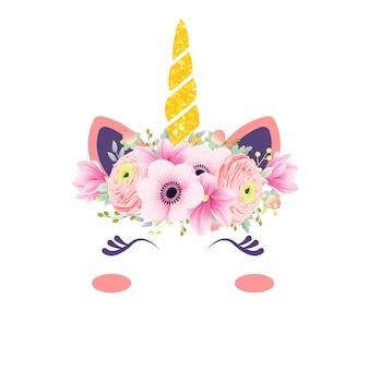 Ładny jednorożec kwiatowy