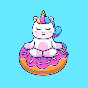 Ładny jednorożec robi joga na ilustracji pączka.