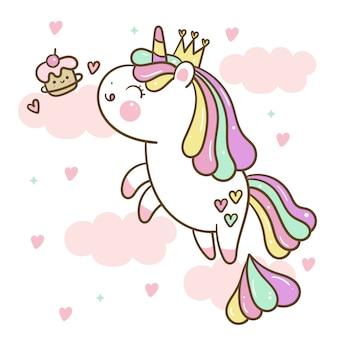 Ładny jednorożec skoczyć w powietrzu, aby zjeść kreskówka cupcake