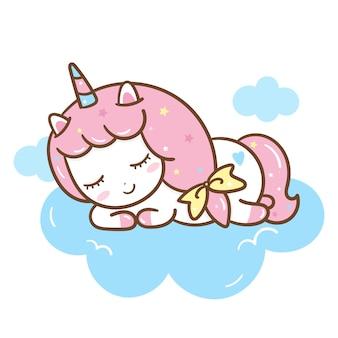 Ładny jednorożec spać na chmurze