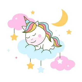 Ładny jednorożec śpi na chmurze