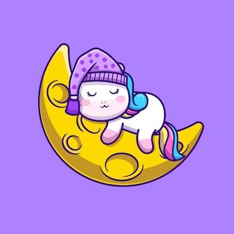 Ładny jednorożec śpi na ilustracji wektorowych kreskówki księżyca. koncepcja przestrzeni zwierząt na białym tle wektor. płaski styl kreskówki