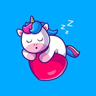 Ładny jednorożec śpi na kreskówce miłości serca
