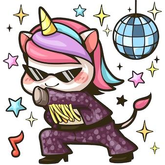 Ładny jednorożec taniec disco kolorowy obraz kreskówka