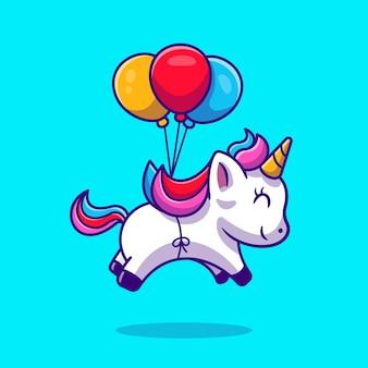 Ładny jednorożec unoszący się z balonem kreskówka wektor ikona ilustracja. koncepcja ikona miłości zwierząt. płaski styl kreskówki