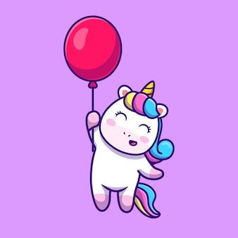 Ładny jednorożec unoszący się z balonem kreskówka wektor ikona ilustracja.