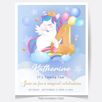 Ładny jednorożec urodziny zaproszenie karta ilustracja