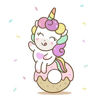 Ładny jednorożec wektor szczęśliwy urodziny pączka