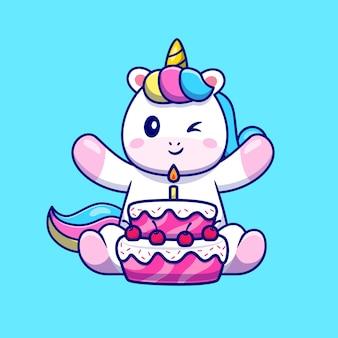 Ładny jednorożec z tort urodzinowy kreskówka wektor ikona ilustracja. koncepcja ikona żywności zwierząt na białym tle premium wektor. płaski styl kreskówki