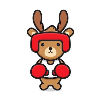 Ładny jeleń maskotka gra w boks. projekt na białym tle
