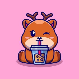 Ładny jeleń pije herbatę mleczną boba kreskówka