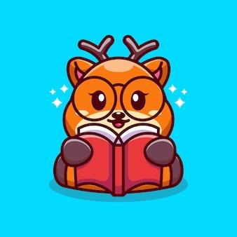 Ładny jelenia czytanie książki kreskówka
