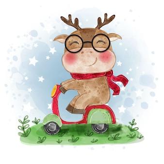 Ładny jelenia jazda motocyklem akwarela ilustracja