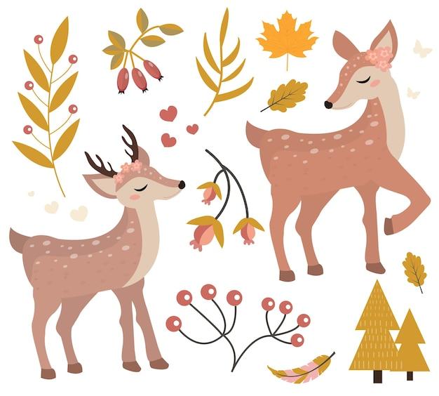 Ładny jelonek w jesiennym lesie zestaw obiektów. kolekcja z małym jeleniem, dla dziecka lub niemowlęcia