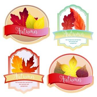 Ładny jesień las liści etykieta