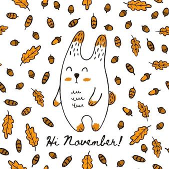 Ładny jesień ręcznie rysować królika na wzór liści żołądź i szyszki. tło wektor zając w lesie z napisem witam listopada do pakowania tekstylne tapety wydruku.