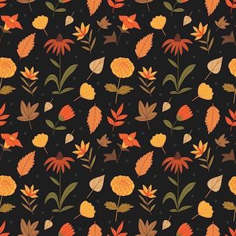 Ładny jesienny wzór z kwiatami i liśćmi jesienny nastrój
