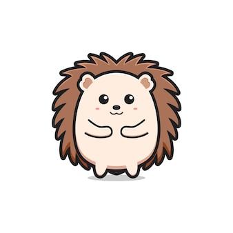 Ładny jeż maskotka charakter logo ikona kreskówka ilustracja płaski styl kreskówki