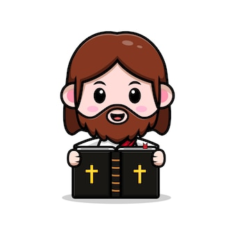 Ładny jezus chrystus czytanie biblii wektor kreskówka chrześcijańska ilustracja