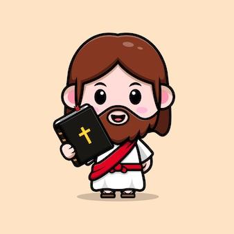 Ładny jezus chrystus trzyma biblię wektor kreskówka chrześcijańska ilustracja