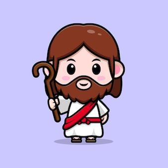 Ładny jezus chrystus trzyma kij wektor kreskówka chrześcijańska ilustracja
