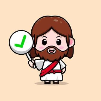 Ładny jezus chrystus trzyma poprawny znak wektor kreskówka chrześcijańska ilustracja