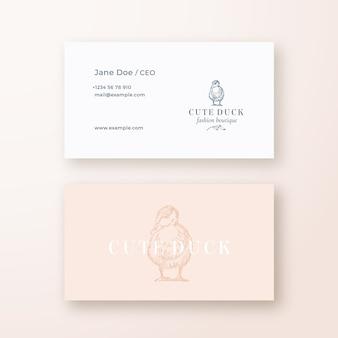 Ładny kaczka streszczenie kobiecy wektor znak lub logo i szablon wizytówki.