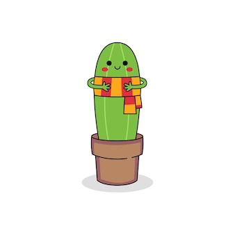 Ładny kaktus postać z kreskówki noszenie szalika