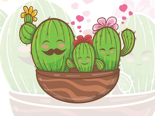 Ładny kaktus rodzina postać z kreskówki ilustracja