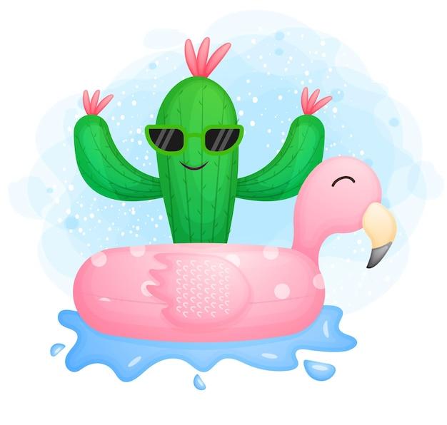 Ładny kaktus z boją flamingów. postać z kreskówki czasu letniego