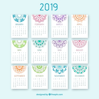 Ładny kalendarz 2019 z projektem mandali
