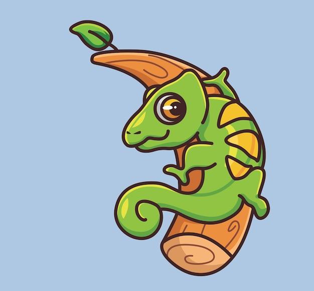 Ładny kameleon chodzenie po gałęzi. koncepcja kreskówka natura zwierząt ilustracja na białym tle. płaski styl nadaje się do naklejki ikona design premium logo wektor. postać maskotki