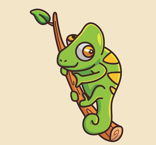Ładny kameleon przytulić gałąź kreskówka zwierzę natura koncepcja na białym tle ilustracja płaski styl odpowiedni