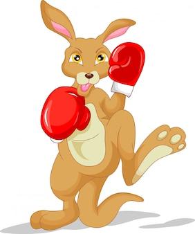 Ładny kangur kreskówka noszenia rękawic bokserskich