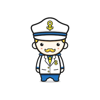 Ładny kapitan marynarki wojennej charakter kreskówka ikona ilustracja. zaprojektuj na białym tle płaski styl kreskówki
