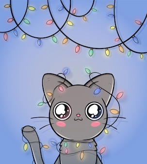 Ładny kartki świąteczne pozdrowienia z kotem