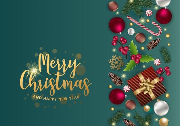 Ładny kartki świąteczne pozdrowienia z pięknymi elementami